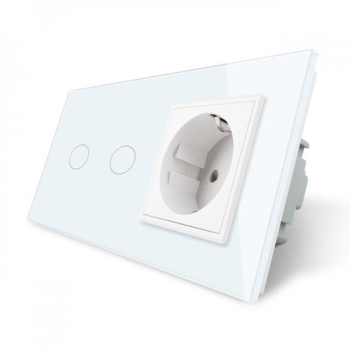 Сенсорный выключатель Livolo комбинированный на 2 линии 1 розетка 2 модуля Белый