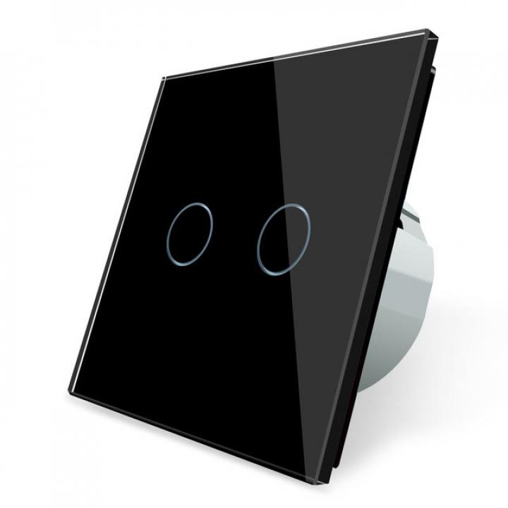 Сенсорный выключатель Livolo 2 клавиши 1 пост Черный
