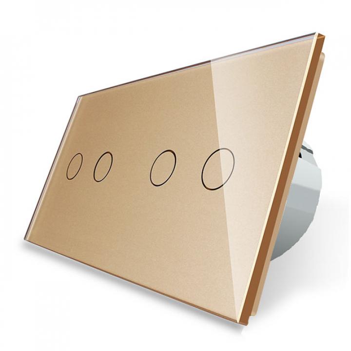 Сенсорный выключатель Livolo 4 клавиши (2+2), 2 поста Золотой