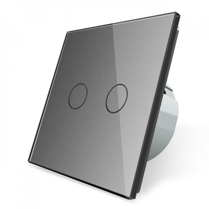 Сенсорный выключатель Livolo 2 клавиши 1 пост Серый
