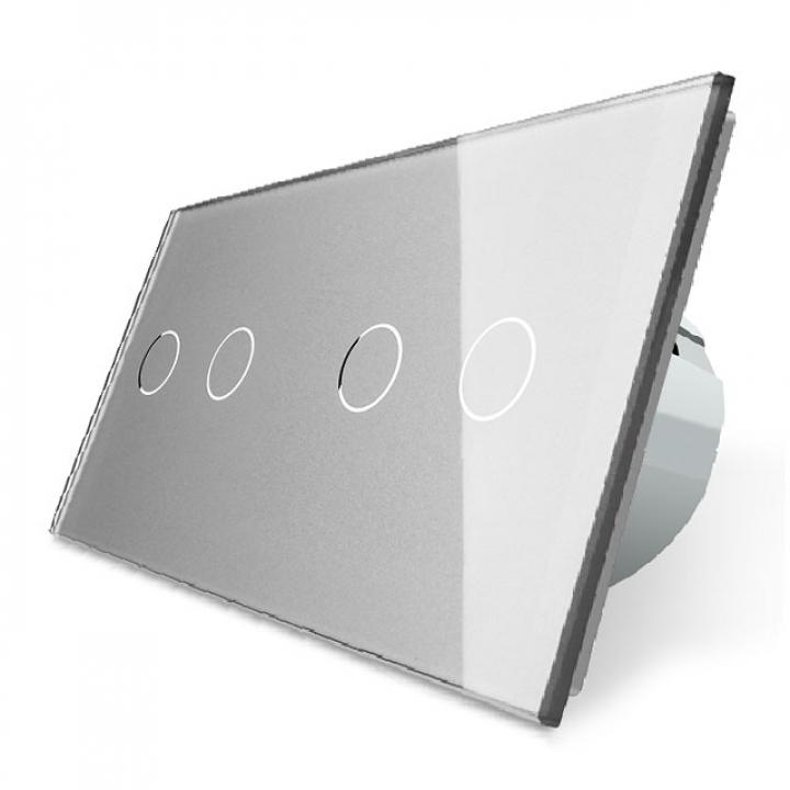 Сенсорный выключатель Livolo 4 клавиши (2+2), 2 поста Серый