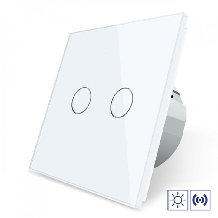 Сенсорный импульсный выключатель Livolo сухой контакт 2 клавиши 1 модуль Белый