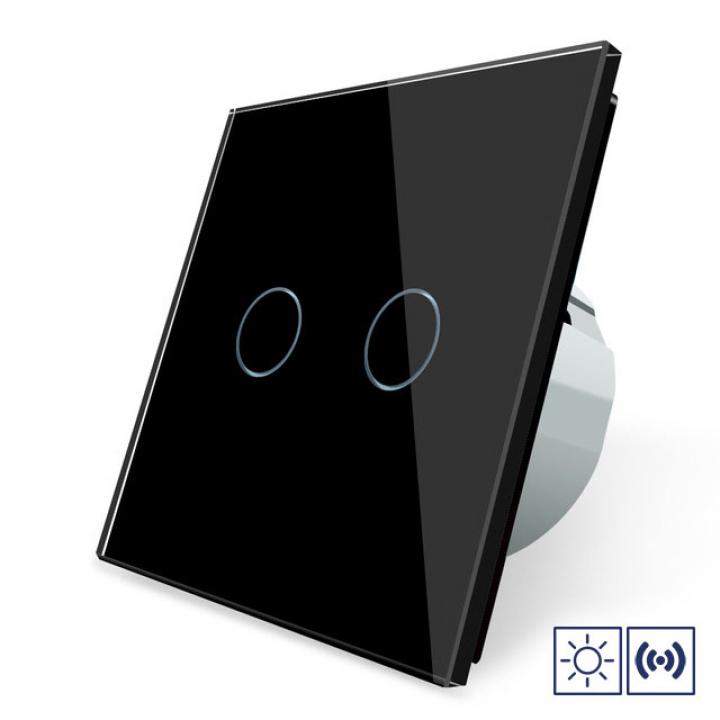 Сенсорный импульсный выключатель Livolo сухой контакт 2 клавиши 1 модуль Черный