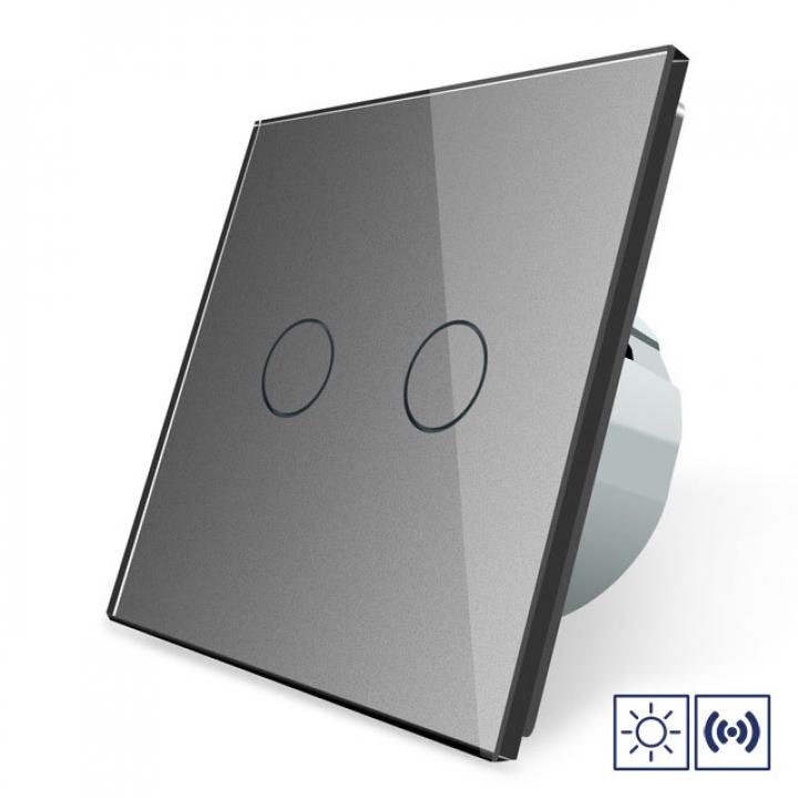 Сенсорный импульсный выключатель Livolo сухой контакт 2 клавиши 1 модуль Серый