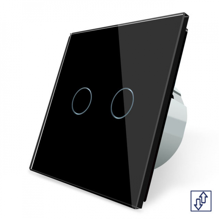 Сенсорный выключатель для жалюзи Livolo 2 клавиши 1 модуль Черный