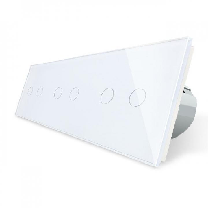 Сенсорный выключатель Livolo 6 клавиш (2+2+2), 3 поста Белый