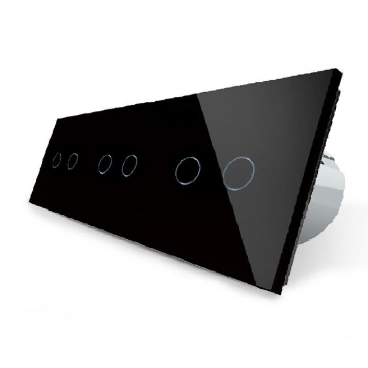Сенсорный выключатель Livolo 6 клавиш (2+2+2), 3 поста Черный