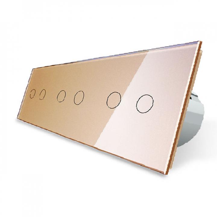 Сенсорный выключатель Livolo 6 клавиш (2+2+2), 3 поста Золотой