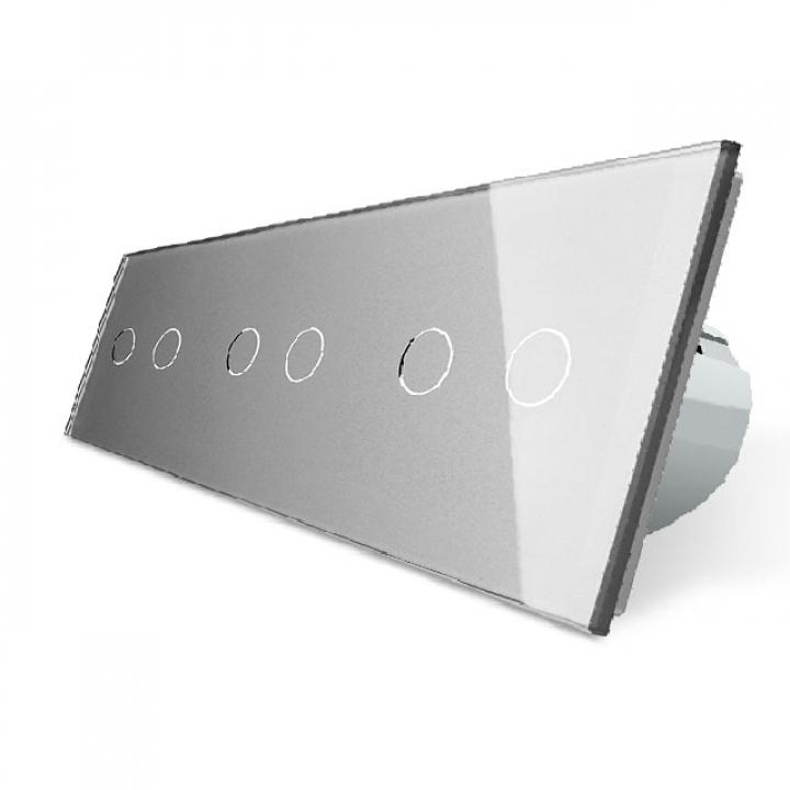 Сенсорный выключатель Livolo 6 клавиш (2+2+2), 3 поста Серый