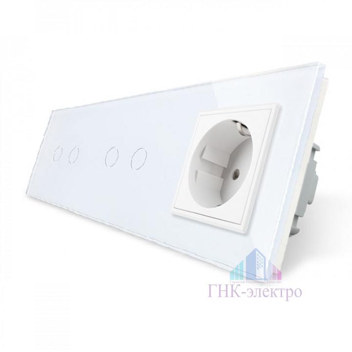 Сенсорный выключатель Livolo комбинированный на 4 линии 1 розетка 3 модуля Белый