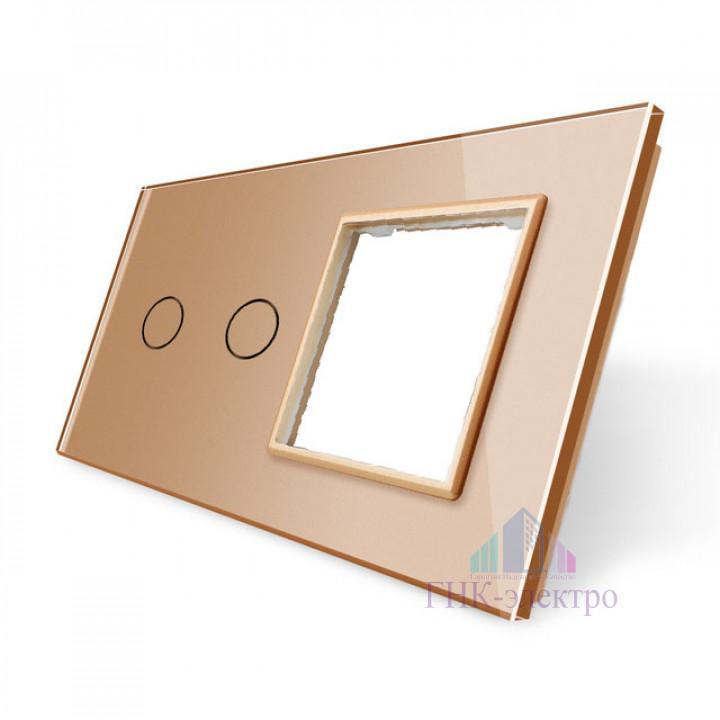 Панель для сенсорного выключателя и розетки Livolo, 2 клавиши, цвет золотой, стекло